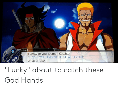 """God, Love, and I Love You: Lucky  Tl know of you, Domon Kasshu.  """"I LOVE YOU! I WANT TO BE WITH YOU!""""  What a joke!l  LLL """"Lucky"""" about to catch these God Hands"""