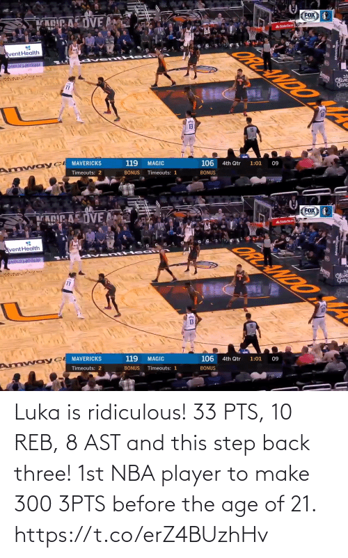 Age: Luka is ridiculous!  33 PTS, 10 REB, 8 AST and this step back three!   1st NBA player to make 300 3PTS before the age of 21. https://t.co/erZ4BUzhHv