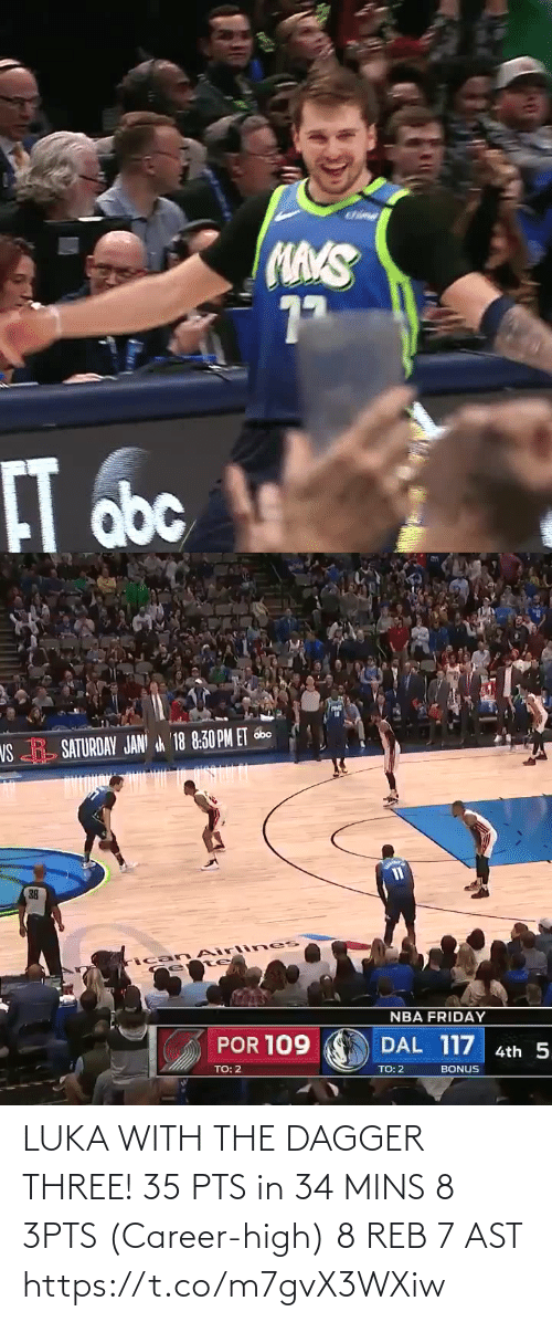 three: LUKA WITH THE DAGGER THREE!   35 PTS in 34 MINS 8 3PTS (Career-high) 8 REB 7 AST  https://t.co/m7gvX3WXiw
