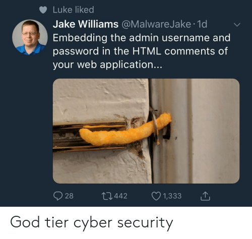 cyber security: Luke liked  Jake Williams @MalwareJake 1d  Embedding the admin username and  password in the HTML comments of  your web application...  028  442  1,333 God tier cyber security