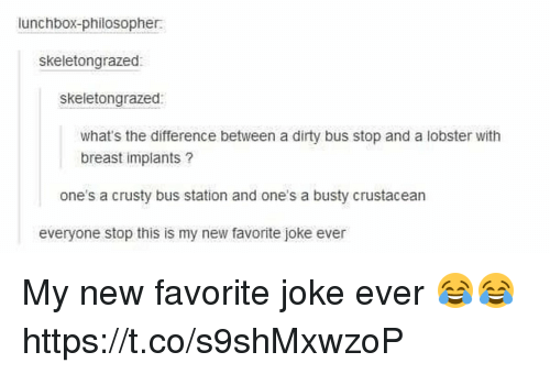 bus station: lunchbox-philosopher  skeletongrazed  skeletongrazed:  what's the difference between a dirty bus stop and a lobster with  breast implants?  one's a crusty bus station and one's a busty crustacean  everyone stop this is my new favorite joke ever My new favorite joke ever 😂😂 https://t.co/s9shMxwzoP