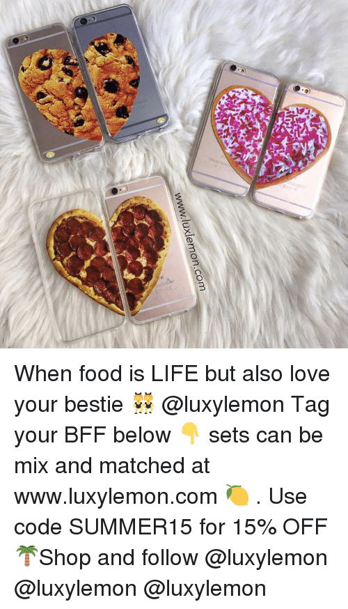 Www When: luxlemon.com  WWW, When food is LIFE but also love your bestie 👯 @luxylemon Tag your BFF below 👇 sets can be mix and matched at www.luxylemon.com 🍋 . Use code SUMMER15 for 15% OFF 🌴Shop and follow @luxylemon @luxylemon @luxylemon