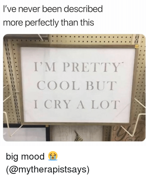 Memes, Mood, and Cool: l've never been described  more perfectly than this  I'M PRETTY  COOL BUT  I CRY A LOT big mood 😭 (@mytherapistsays)