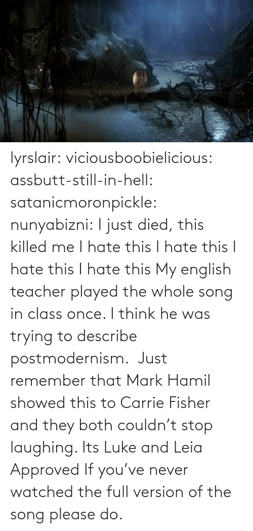 hate: lyrslair: viciousboobielicious:  assbutt-still-in-hell:  satanicmoronpickle:  nunyabizni: I just died, this killed me I hate this I hate this I hate this I hate this  My english teacher played the whole song in class once. I think he was trying to describe postmodernism.   Just remember that Mark Hamil showed this to Carrie Fisher and they both couldn't stop laughing. Its Luke and Leia Approved  If you've never watched the full version of the song please do.
