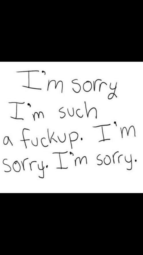 Sorry, Im Sorry, and Such: 'm so  m such  a fuckup. T'm  Sorry. I'm sorry.