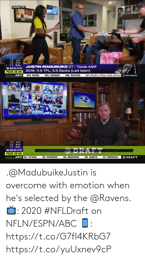 Selected: .@MadubuikeJustin is overcome with emotion when he's selected by the @Ravens.   📺: 2020 #NFLDraft on NFLN/ESPN/ABC 📱: https://t.co/G7fI4KRbG7 https://t.co/yuUxnev9cP