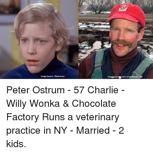 Memes, Peter Ostrum, and Willy Wonka: mage Source-DailyActor  imagasouro9www. Peter Ostrum - 57 Charlie - Willy Wonka & Chocolate Factory Runs a veterinary practice in NY - Married - 2 kids.