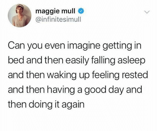 Dank, Good, and 🤖: maggie mull  infinitesimull  Can you even imagine getting in  bed and then easily falling asleep  and then waking up feeling rested  and then having a good day and  then doing it again