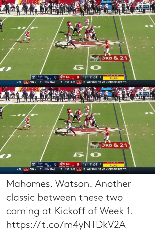 Between: Mahomes. Watson.  Another classic between these two coming at Kickoff of Week 1. https://t.co/m4yNTDkV2A