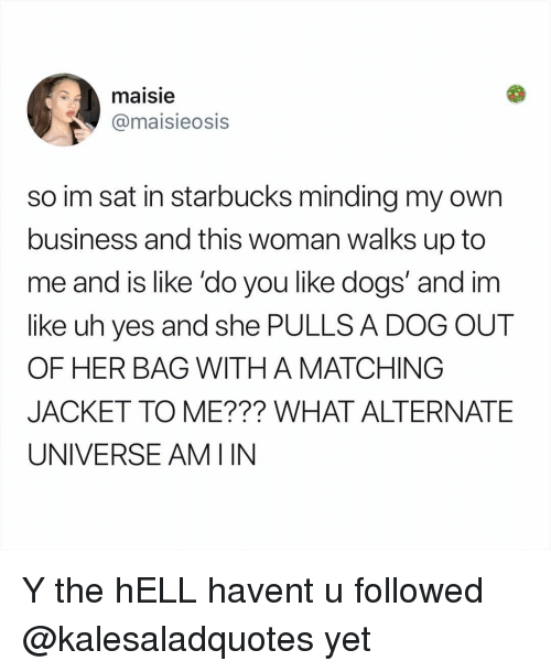 Dogs, Memes, and Starbucks: maisie  @maisieosis  so im sat in starbucks minding my own  business and this woman walks up to  me and is like 'do you like dogs' and im  like uh yes and she PULLS A DOG OUT  OF HER BAG WITH A MATCHING  JACKET TO ME??? WHAT ALTERNATE  UNIVERSE AMIIN Y the hELL havent u followed @kalesaladquotes yet