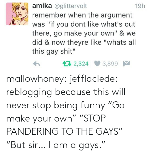 """your own: mallowhoney: jefflaclede:  reblogging because this will never stop being funny   """"Go make your own"""" """"STOP PANDERING TO THE GAYS"""" """"But sir… I am a gays."""""""