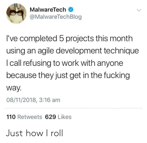 Monthly: MalwareTech  @MalwareTechBlog  I've completed 5 projects this month  using an agile development technique  I call refusing to work with anyone  because they just get in the fucking  way.  08/11/2018, 3:16 am  110 Retweets 629 Likes Just how I roll