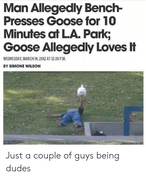 Wednesday: Man Allegedly Bench-  Presses Goose for 10  Minutes at LA. Park;  Goose Allegedly Loves忄  WEDNESDAY MARCH 14,2012 AT 12:30 P.M  BY SIMONE WILSON Just a couple of guys being dudes
