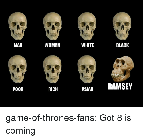 Game of Thrones, Tumblr, and Black: MAN  WOMAN  WHITE  BLACK  RICH  ASIANRAMSEY  POOR game-of-thrones-fans:  Got 8 is coming