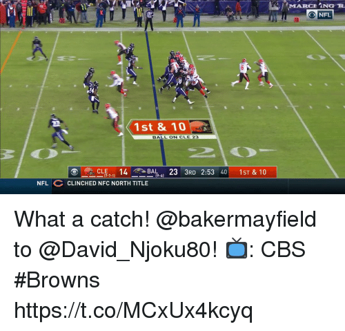 Memes, Nfl, and Cbs: MARCHİNG R  O NFL  1st & 10  BALL ON CLE 23  ーCLE7-11  14T-BAL-61  23  3RD 2:53 40 |  1st&10  NFL CLINCHED NFC NORTH TITLE What a catch!  @bakermayfield to @David_Njoku80!  📺: CBS #Browns https://t.co/MCxUx4kcyq
