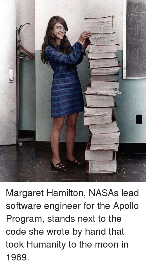 Nasa, Apollo, and Moon: Margaret Hamilton, NASAs lead software engineer for the Apollo Program, stands next to the code she wrote by hand that took Humanity to the moon in 1969.