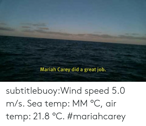 mariah carey: Mariah Carey did a great job. subtitlebuoy:Wind speed 5.0 m/s. Sea temp: MM °C, air temp: 21.8 °C. #mariahcarey