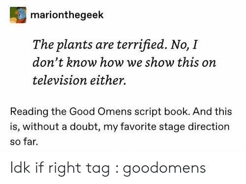 script: marionthegeek  The plants are terrified. No, I  don't know how we show this on  television either.  Reading the Good Omens script book. And this  is, without a doubt, my favorite stage direction  so far. Idk if right tag : goodomens