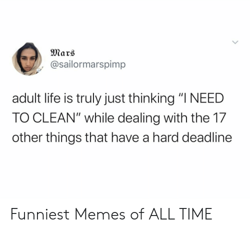 """funniest memes: Mars  @sailormarspimp  adult life is truly just thinking """"I NEED  TO CLEAN"""" while dealing with the 17  other things that have a hard deadline Funniest Memes of ALL TIME"""