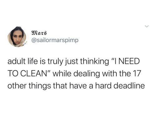 """clean: Mars  @sailormarspimp  adult life is truly just thinking """"I NEED  TO CLEAN"""" while dealing with the 17  other things that have a hard deadline"""