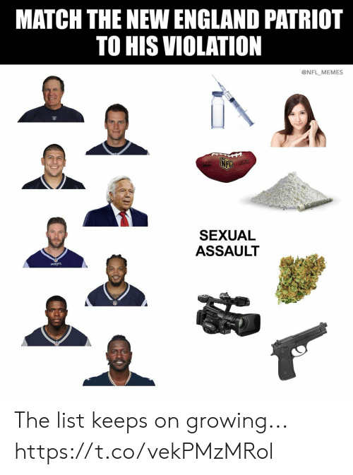 New England Patriot: MATCH THE NEW ENGLAND PATRIOT  TO HIS VIOLATION  @NFL MEMES  SEXUAL  ASSAULT  PATRIOTS The list keeps on growing... https://t.co/vekPMzMRol
