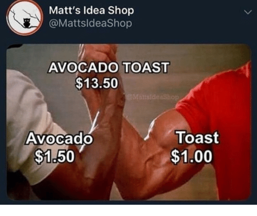 Avocado, Toast, and Avocado Toast: Matt's Idea Shop  @MattsldeaShop  AVOCADO TOAST  $13.50  Toast  $1.00  AVocado  0  $1.50