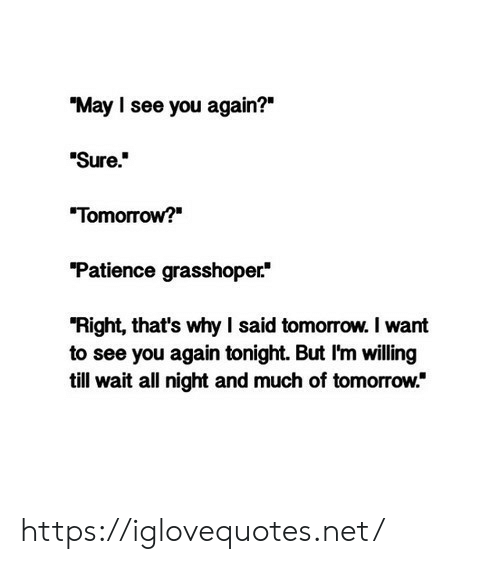 """Patience, See You Again, and Tomorrow: """"May I see you again?""""  """"Sure""""  Tomorrow?  Patience grasshoper*  """"Right, that's why I said tomorrow. I want  to see you again tonight. But I'm willing  till wait all night and much of tomorrow."""" https://iglovequotes.net/"""