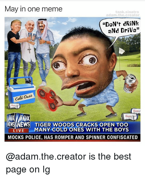 "drinking and driving: May in one meme  tank sinatra  adam the creator  ""DON't dRiNk  aNd Drive""  Cold Ques.  NEWS NEWS TIGER WOODS CRACKS OPEN TOO  LIVE  MANY COLD ONES WITH THE BOYS  MOCKS POLICE, HAS ROMPER AND SPINNER CONFISCATED @adam.the.creator is the best page on Ig"