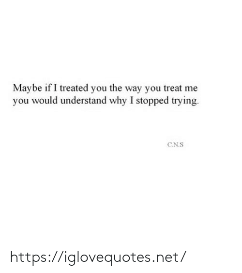 treat: Maybe if I treated you the way you treat me  you would understand why I stopped trying.  C.N.S https://iglovequotes.net/
