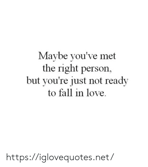 Fall, Love, and Net: Maybe you've met  the right person,  but you're just not ready  to fall in love https://iglovequotes.net/