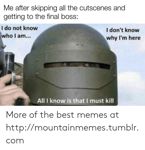 The Final Boss: Me after skipping all the cutscenes and  getting to the final boss:  I do not know  who I am...  I don't know  why I'm here  All I know is that I must kill More of the best memes at http://mountainmemes.tumblr.com