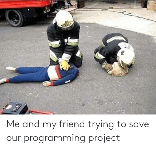 my friend: Me and my friend trying to save our programming project