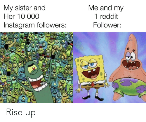 reddit: Me and my  My sister and  Her 10 000  1 reddit  Instagram followers:  Follower: Rise up
