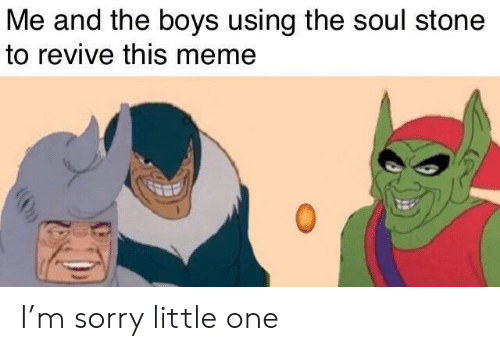 Little One: Me and the boys using the soul stone  to revive this meme I'm sorry little one