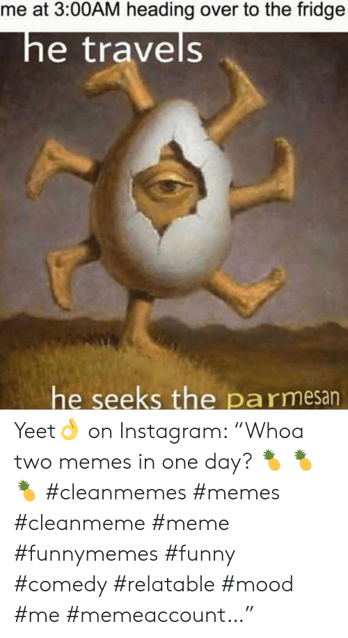 """Funny, Instagram, and Meme: me at 3:00AM heading over to the fridge  he travels  he seeks the pa rmesan Yeet👌 on Instagram: """"Whoa two memes in one day? 🍍 🍍 🍍 #cleanmemes #memes #cleanmeme #meme #funnymemes #funny #comedy #relatable #mood #me #memeaccount…"""""""