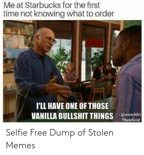 order: Me at Starbucks for the first  time not knowing what to order  I'LL HAVE ONE OF THOSE  VANILLA BULLSHIT THINGS @wewildin  PhotoGrid Selfie Free Dump of Stolen Memes