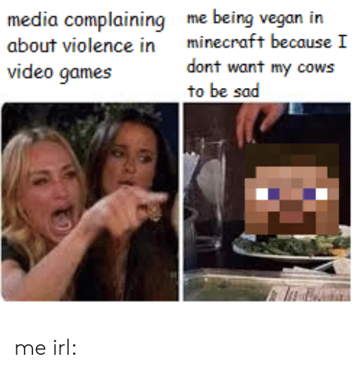 Minecraft, Vegan, and Video Games: me being vegan in  minecraft because I  media complaining  about violence in  dont want my cows  to be sad  video games me irl: