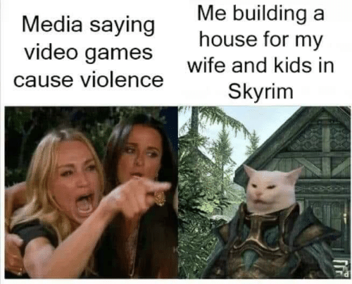 Skyrim, Video Games, and Games: Me building a  house for my  Media saying  video games  Wite and kids in  Skyrim  cause violence