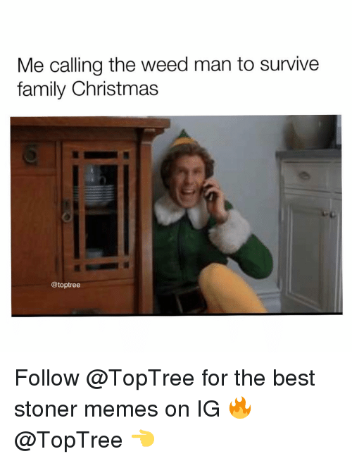 Christmas, Family, and Memes: Me calling the weed man to survive  family Christmas  @toptree Follow @TopTree for the best stoner memes on IG 🔥@TopTree 👈