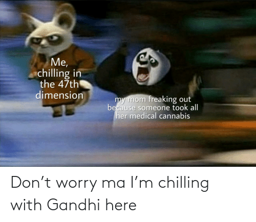 chilling: Me,  chilling in  the 47th  dimension  my mom freaking out  because someone took all  her medical cannabis  uldankdormamu Don't worry ma I'm chilling with Gandhi here