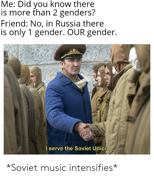 Genders: Me: Did you know there  is more than 2 genders?  Friend: No, in Russia there  is only 1 gender. OUR gender.  I serve the Soviet Union *Soviet music intensifies*