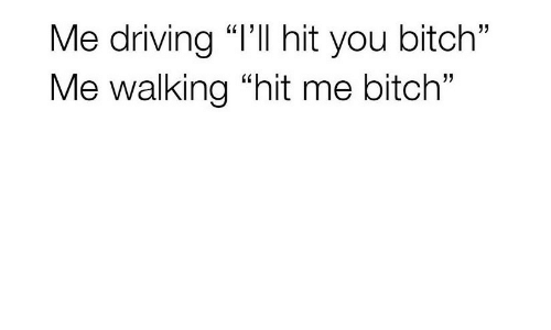 """Bitch, Driving, and You: Me driving """"l'Il hit you bitch""""  Me walking """"hit me bitch"""""""