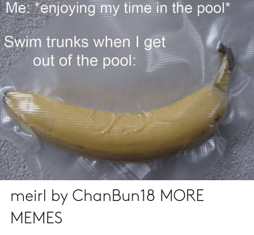Trunks: Me: enjoying my time in the pool*  Swim trunks when I get  out of the pool:  ELBle meirl by ChanBun18 MORE MEMES