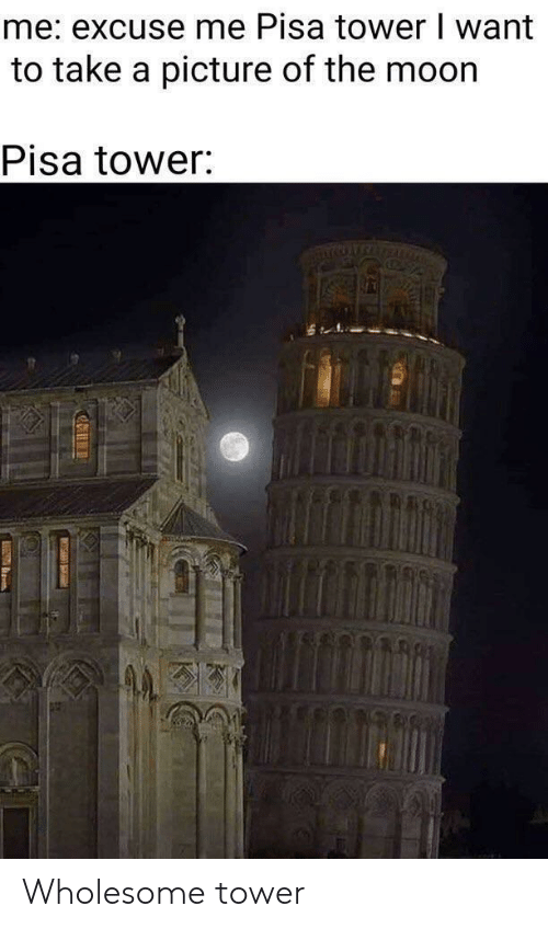 pisa: me: excuse me Pisa tower I want  to take a picture of the moor  Pisa tower Wholesome tower