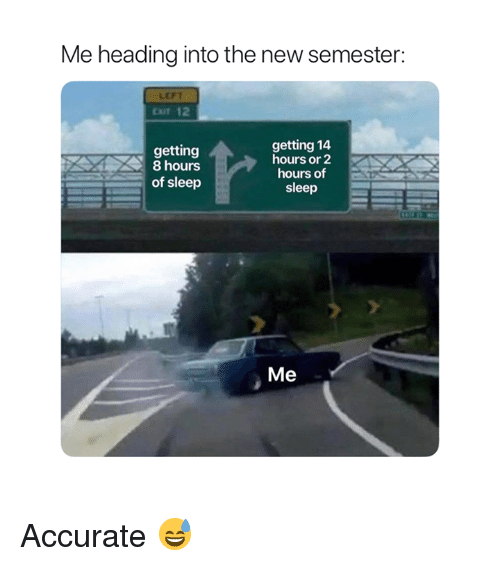Sleep, New, and Heading: Me heading into the new semester:  LEFT  cot 12  getting 14  hours or 2  hours of  sleep  getting  8 hours  of sleep  Me Accurate 😅