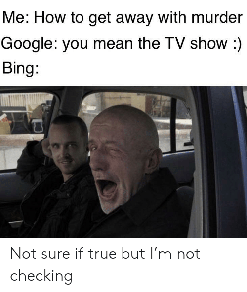 How To Get: Me: How to get away with murder  Google: you mean the TV show :)  Bing: Not sure if true but I'm not checking