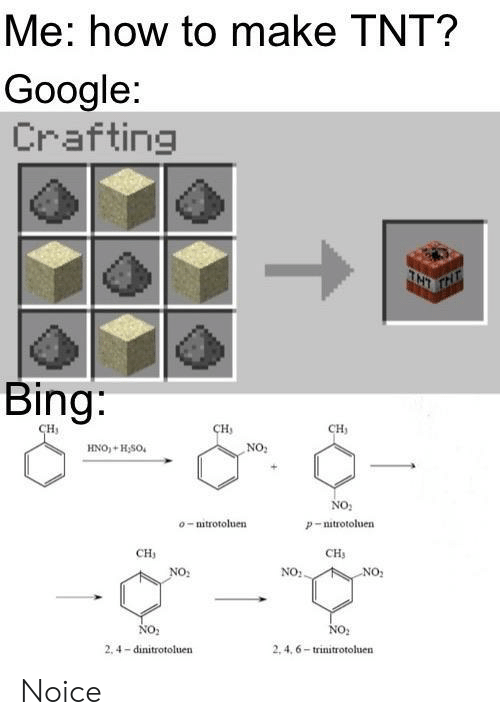 Google, Bing, and How To: Me: how to make TNT?  Google:  Crafting  TNT  Bing:  сн,  CH  сH  NO:  HNO+H,SO  No  o-mitrotoluen  P-nitrotoluen  CH  CH  NO:.  NO:  NO2  NO  2, 4,6-trinitrotoluen  2.4 dinitrotoluen Noice