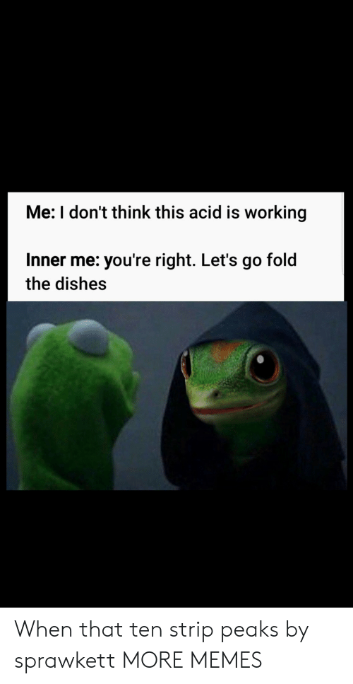 Dank, Memes, and Target: Me: I don't think this acid is working  Inner me: you're right. Let's go fold  the dishes When that ten strip peaks by sprawkett MORE MEMES