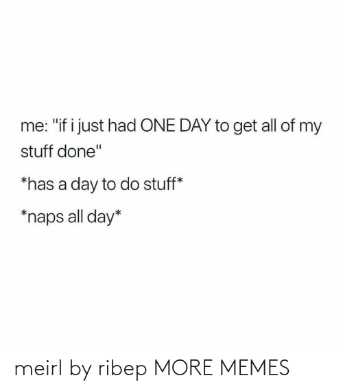 """All Of: me: """"if i just had ONE DAY to get all of my  stuff done""""  *has a day to do stuff*  *naps all day* meirl by ribep MORE MEMES"""