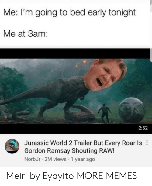 Going To Bed: Me: I'm going to bed early tonight  Me at 3am:  2:52  Jurassic World 2 Trailer But Every Roar Is  Gordon Ramsay Shouting RAW!  NorbJr 2M views 1 year ago Meirl by Eyayito MORE MEMES